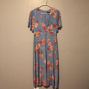 jessica howard blue floral full length dress sz 6